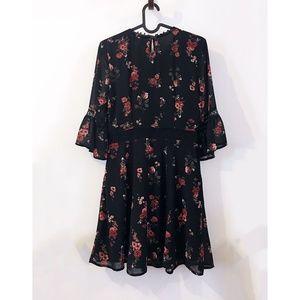 H&M Dresses - H&M Divided black rose floral chiffon dress